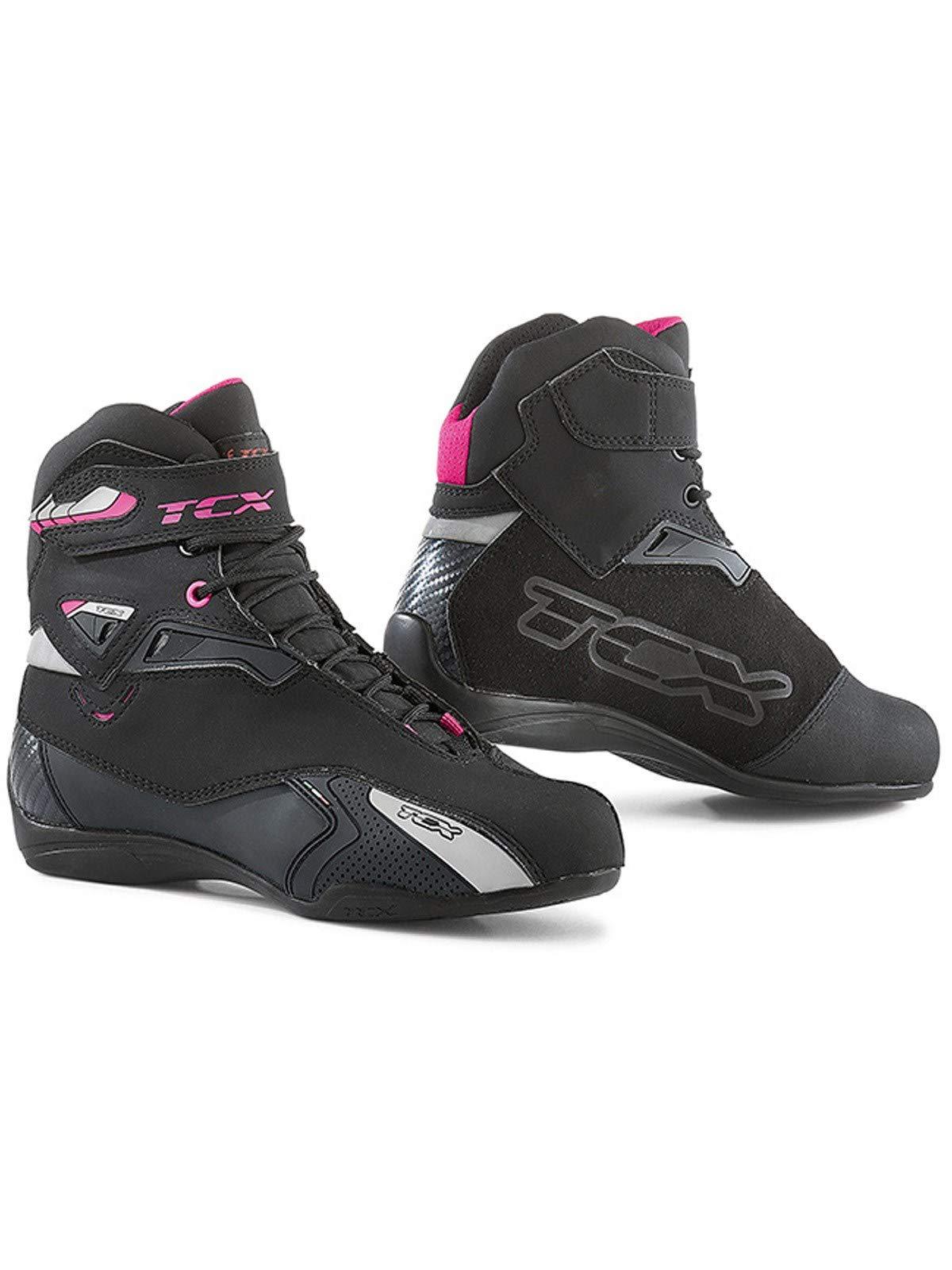 TCX Rush Waterproof Women's Street Motorcycle Shoes - Black/Fuchsia/Eu 42 / Us 10