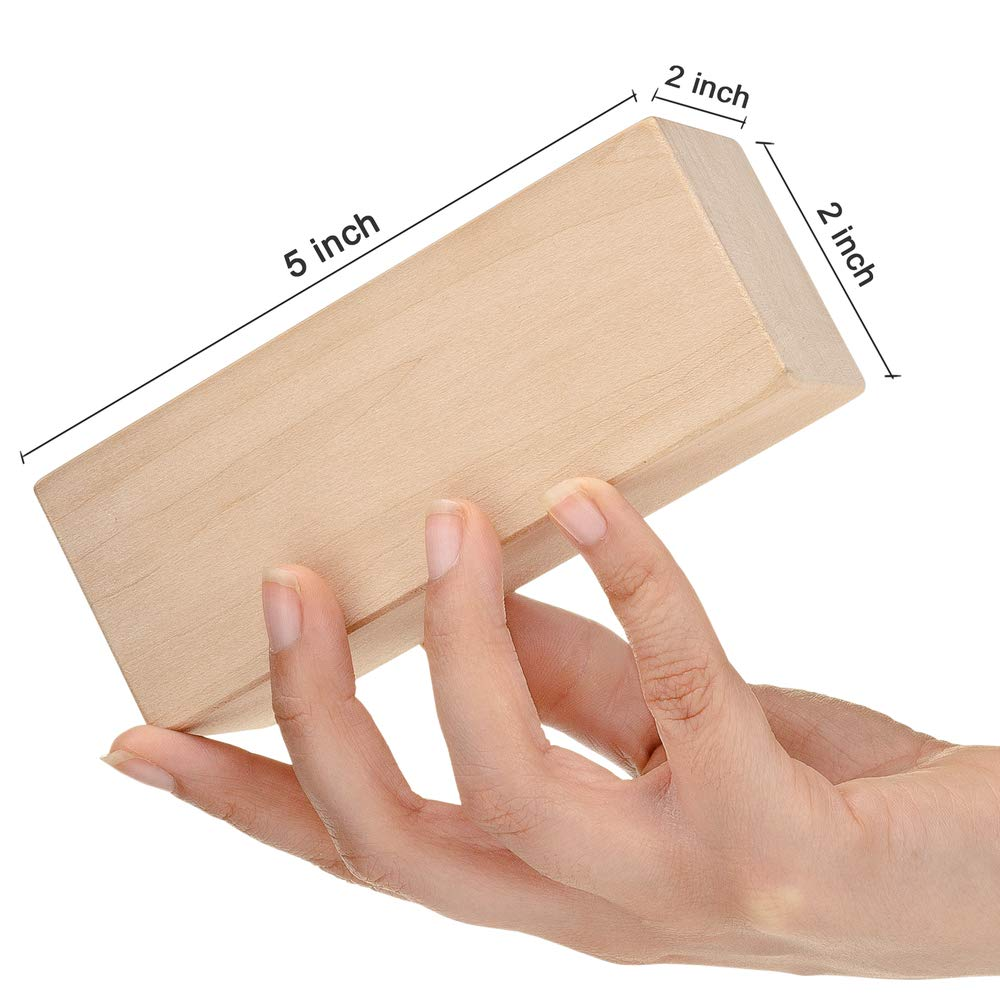 Premium Basswood Carving Kit 4 Piece Large Unfinished Whittling Soft Wood Blocks for Kids or Adults