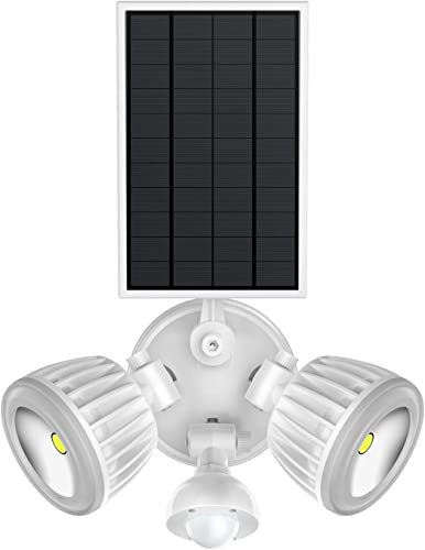 Solar Motion Sensor Light, HJLFA 360 Rotatable Dual Head 10W COB 1500Lumens IP65 Waterproof Solar Powered Security Flood Light for Deck,Patio,Parking Lot,Porch,Garden,Garage,Driveway