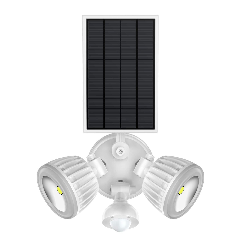 Solar Motion Sensor Light, HJLFA 360° Rotatable Dual Head 10W COB 1500Lumens IP65 Waterproof Solar Powered Security Flood Light for Deck,Patio,Parking Lot,Porch,Garden,Garage,Driveway