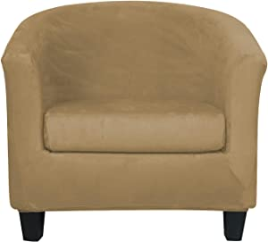 2-Piece Velvet Tub Chair Covers with Cushion Cover Stretch Soft Removable Tub Chair Slipcovers Armchair Sofa Couch Furniture Protector for Living Room Club Bar Counter Hotel (Camel)