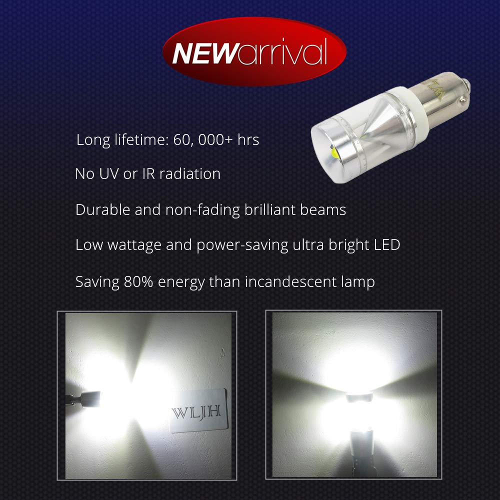 luz de d/ía indicadora de marcha atr/ás WLJH 2 x Canbus 500 lm 9 W sin error Ba9s T4W luz LED para interior de coche placa de estacionamiento