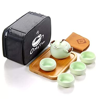 OMyTea 100% Handmade Chinese / Japanese Vintage Kungfu Gongfu Tea Set - Porcelain Teapot & Teacups & Bamboo Tea Tray & Tea Mat with a Portable Travel Bag - For Make Green Blooming Pu Erh Black Oolong Longjing Tea (Green 1)