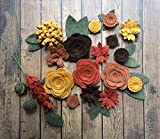 Wool Felt Fabric Flowers - Autumn Flower Embellishment - Large Posies - 20 Flowers & 18 leaves - Create your own Headbands, Wreaths