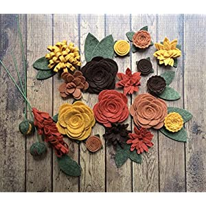 Wool Felt Fabric Flowers - Autumn Flower Embellishment - Large Posies - 20 Flowers & 18 leaves - Create your own Headbands, Wreaths 118