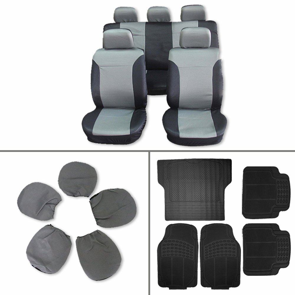 Scitoo 14-PCS Car Floor Mats W/Trunk Liner Gray/Black Car Seat Covers for Heavy Duty Vans Trucks