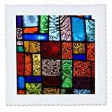 3dRose qs_83520_4 Stained Glass at a Church with Nature Themes NA01 RKL0021 Raymond Klass Quilt Square, 12 by 12-Inch