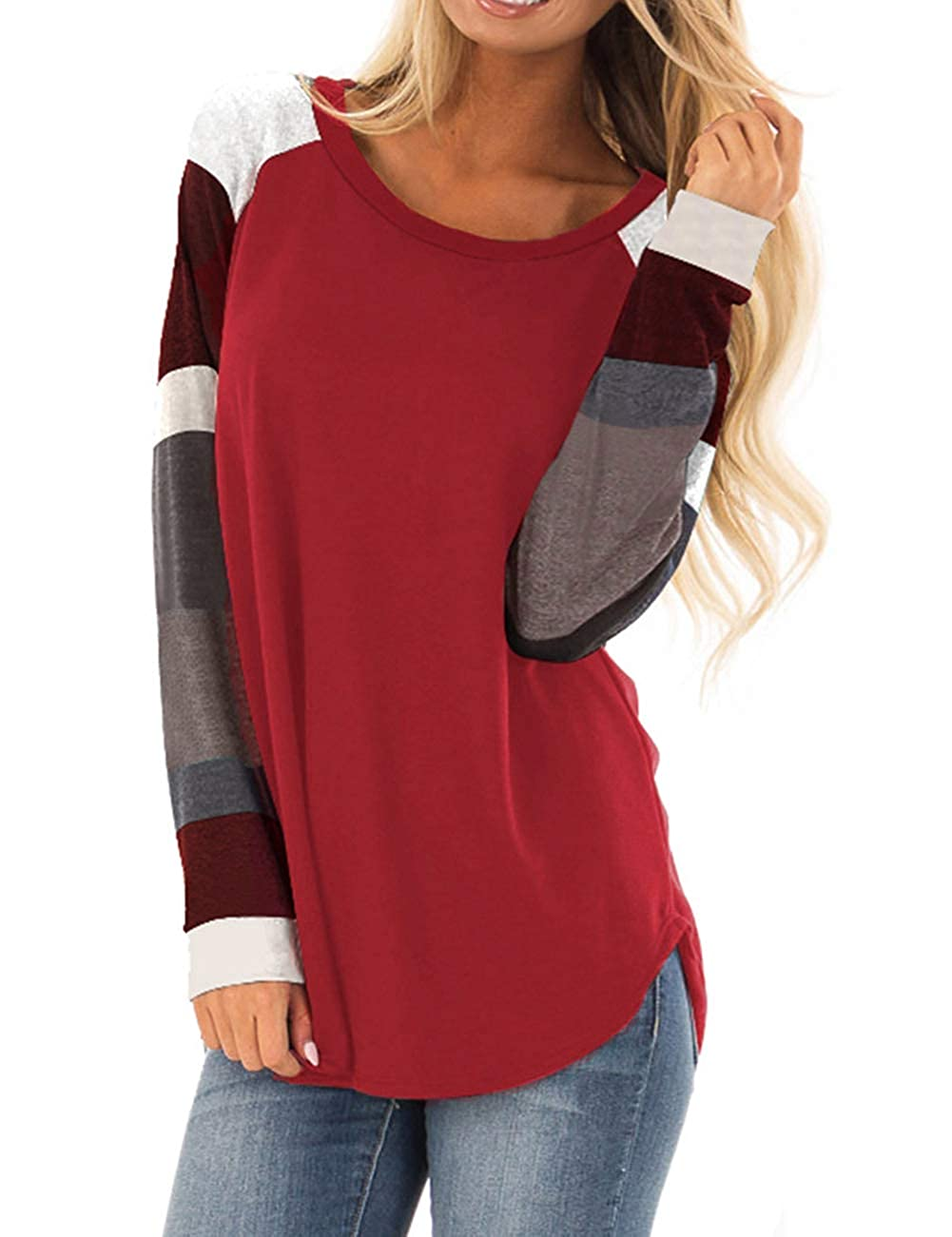 bff351c3d8eab9 Women's Long Sleeve Cotton Knitted Patchwork Casual Tunic Sweatshirt Tops  Patchwork-RL01