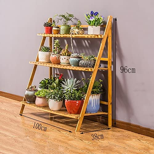 LLDHUAJIA LIANGLIANG - Estantería de madera maciza para macetas de bambú con escalera para suelo o balcón (2/3/4 niveles): Amazon.es: Jardín