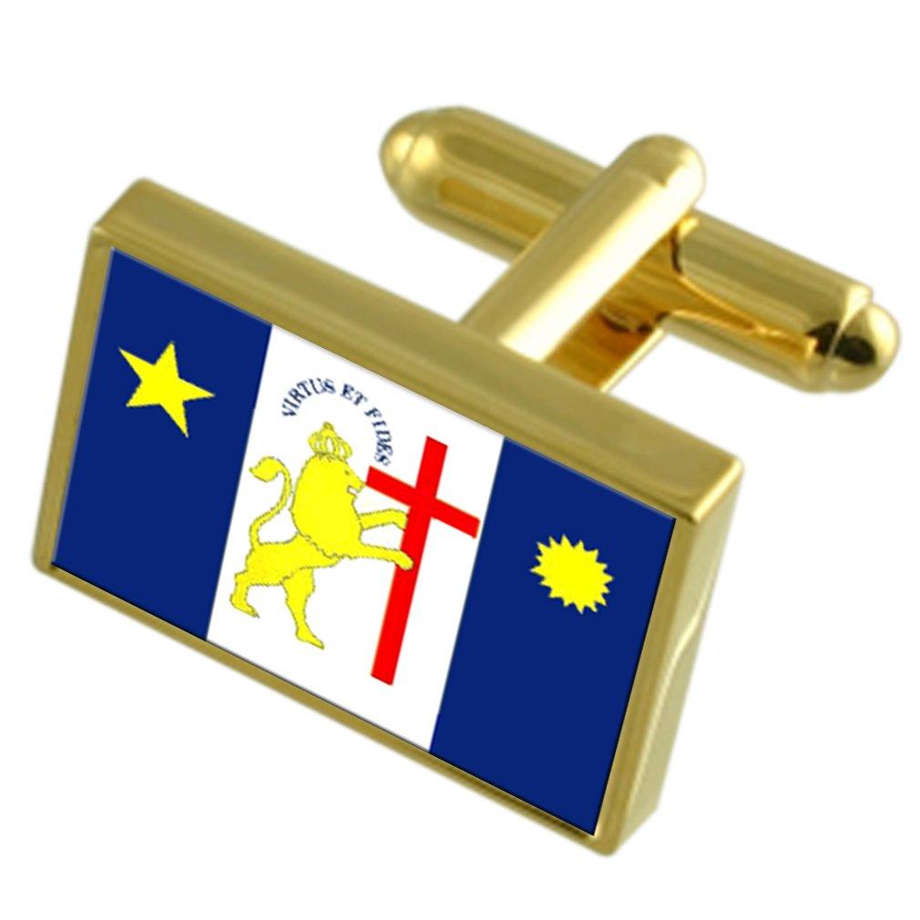 Recife City Brazil Gold-tone Flag Cufflinks Engraved Box