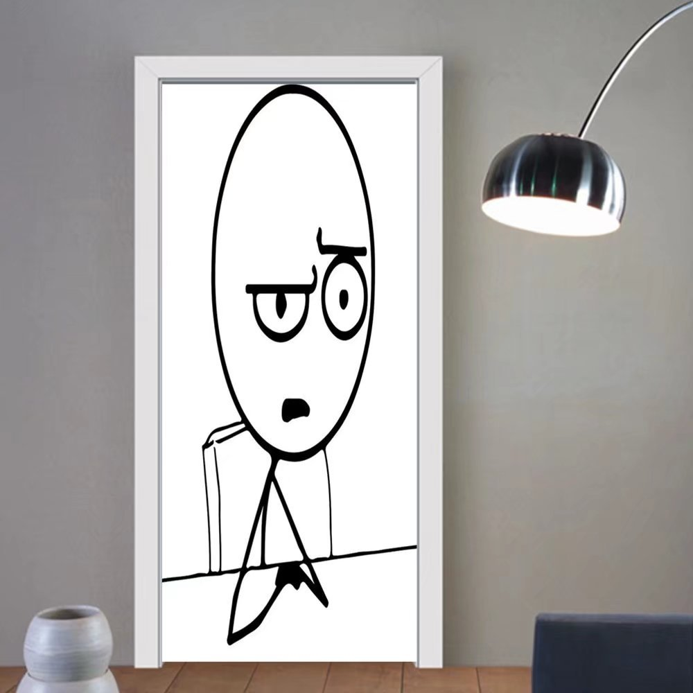 Gzhihine custom made 3d door stickers Humor Decor So What Guy Meme Face Best Avatar WTF Icon Hipster Mascot Snobby Sign Picture Black White For Room Decor 30x79