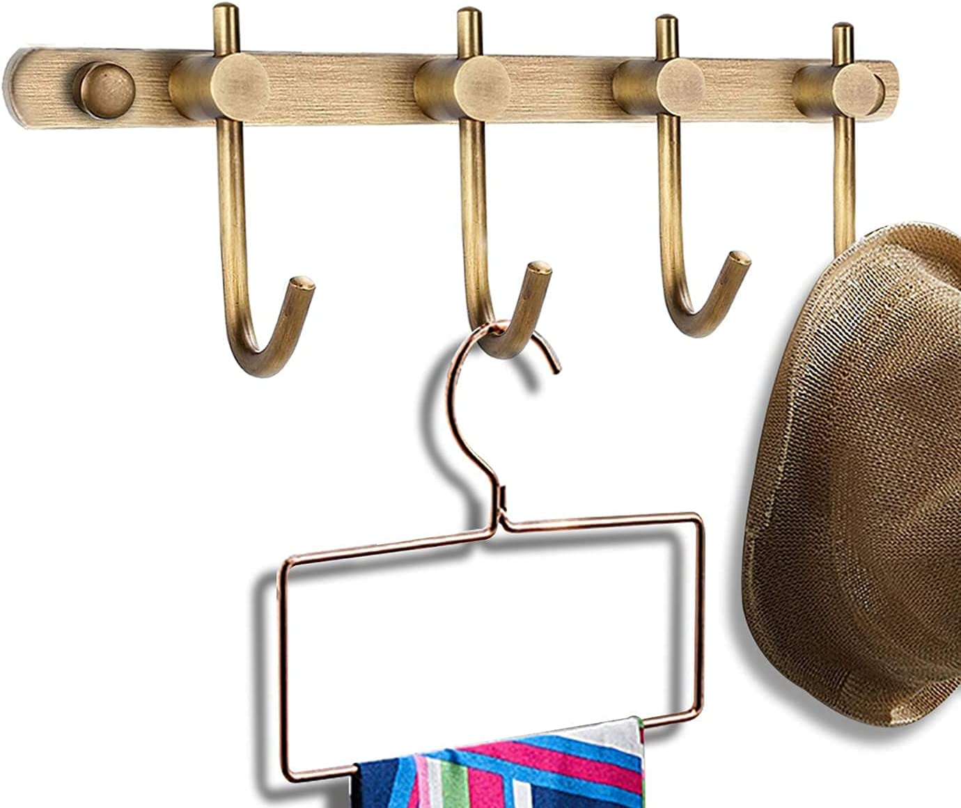 SOLID BRASS HAT AND COAT RAIL RACK HANGER WARDROBE BATHROOM BEDROOM HOOKS PEGS
