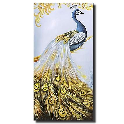 4a1f50730aeb Amazon.com  Asdam Art-Peacock Canvas Oil Paintings Animal Artwork Vertical  Wall Art for Living Room Hallway Home Decor(24x48inch)  Paintings