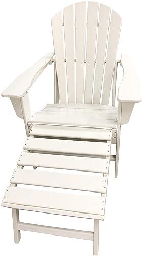 LuXeo LUX-1518-WHT-FR2 Hampton White Adirondack Chair
