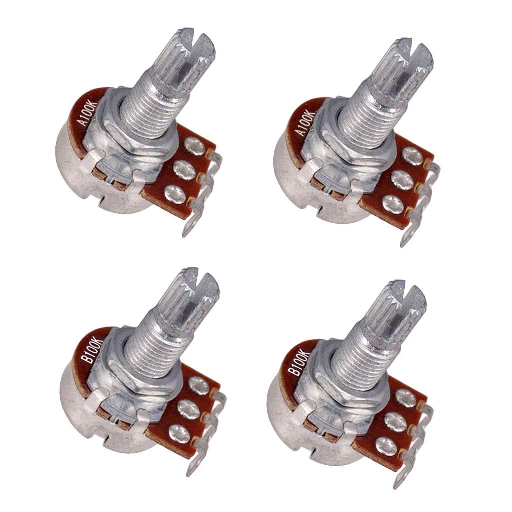 Almencla 4Pcs Knurled 18mm Split Shaft Potentiometers Volume Tone Pots A100K B100K for Electric Guitar Bass DIY