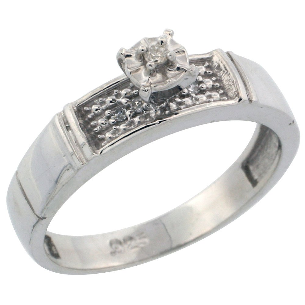 wide 3//16 in. w// 0.07 Carat Brilliant Cut Diamonds Sterling Silver Diamond Engagement Ring Size 6 4.5mm