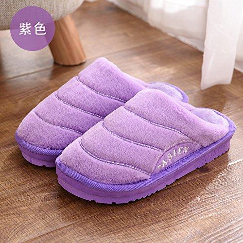 Cotone fankou pantofole pacchetto femmina con spessi inverno uomini e soggiorno a caldo indoor giovane inverno pantofole bella ,39-40, Viola
