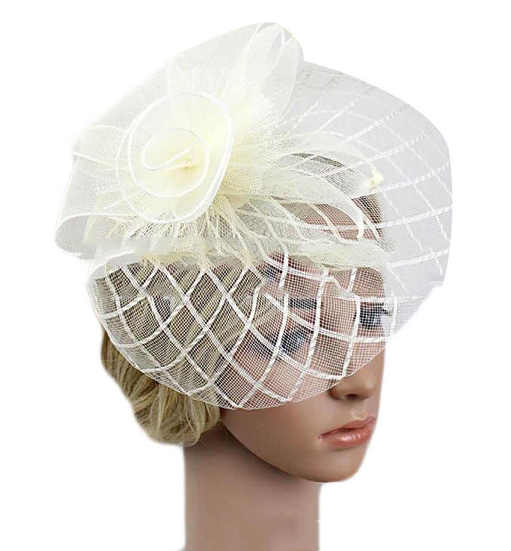 M&S&W Women Fascinator Hat Mesh Net Veil Derby Hat Party Hat with Clip and Hairband 1 OS