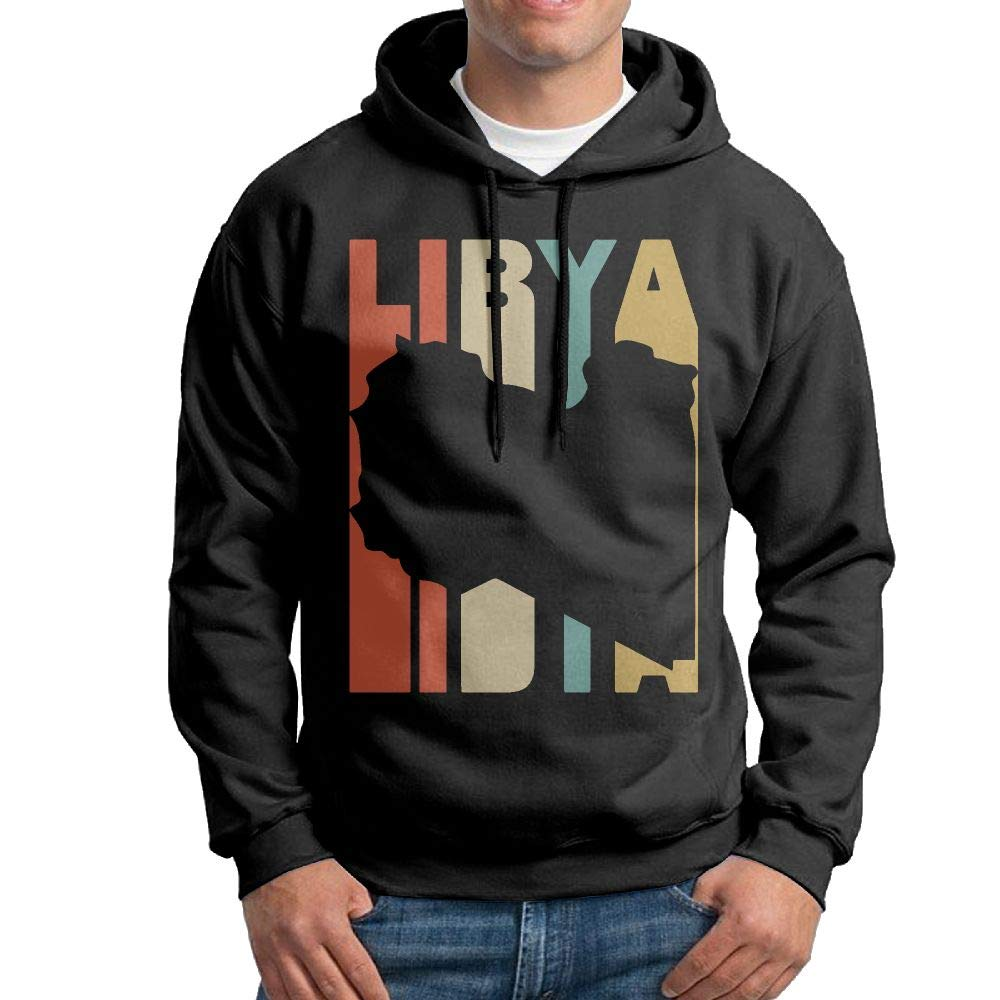 Mens Hooded Sweatshirt Original Retro Style Libya Silhouette Cotton Outwear for Mens