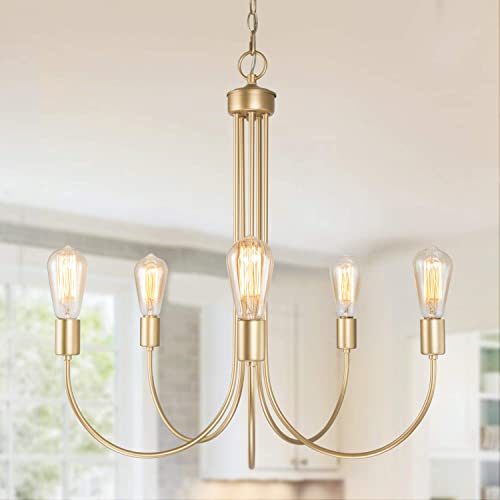 KSANA Large Gold Chandelier 5 Modern Light Fixture for Dining Living Room, Bedroom, Foyer and Entryway 25 Diameter X 26 Height