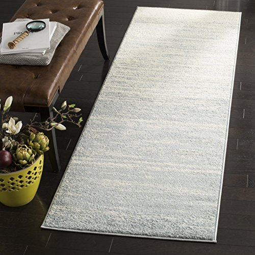 "Safavieh Adirondack Collection ADR113T Modern Ombre Runner, 2' 6"" x 10', Slate/Cream"