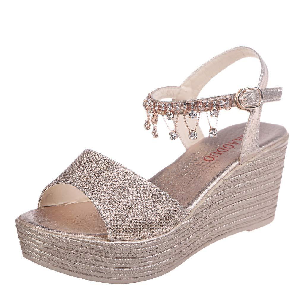 Hemlock Women Fashion Sequin Wedge Sandals Pear Belt Buckle Sandals Thick Platform Sandals Party Princess Sandals Shoes