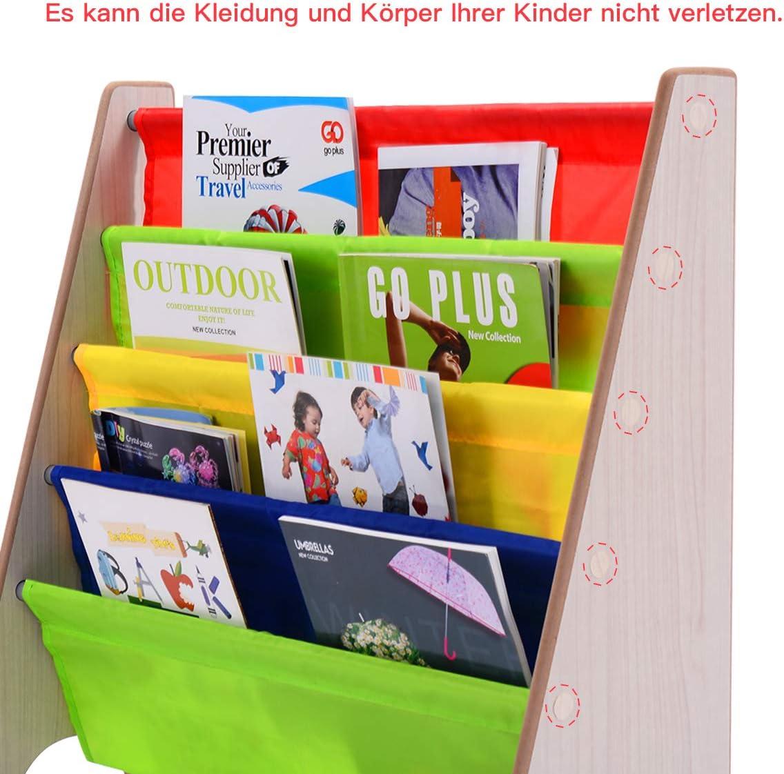 Natur+Bunt COSTWAY Kinder-B/ücherregal H/ängef/ächerregal B/üchergestell Zeitungsst/änder mit 4 Ablagef/ächern