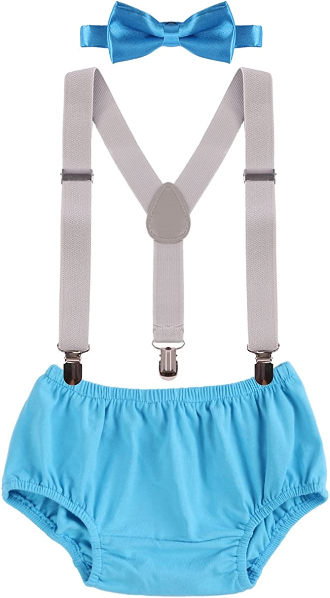 Baby Boys One 1st 2nd Birthday Party Cake Smash Outfit Formal Gentleman Suit Toddler Braces Bowtie Set Adjustable Y Elastic Clip Suspenders Bloomer Shorts Wedding Photo Props Costume 3-24 Months