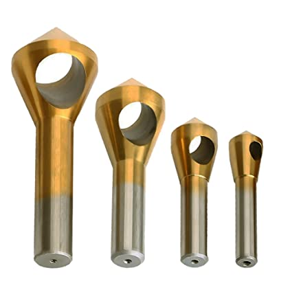 Zzanggu® - Juego de herramientas para desquemar chamfer de avellanado (4 piezas), HSS de metal con revestimiento de titanio y brocas de plástico de madera ...