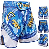 Farabi MMA Shorts Grappling Cage Fight Training Match Kick Boxing Ultimate Pro Series Blue