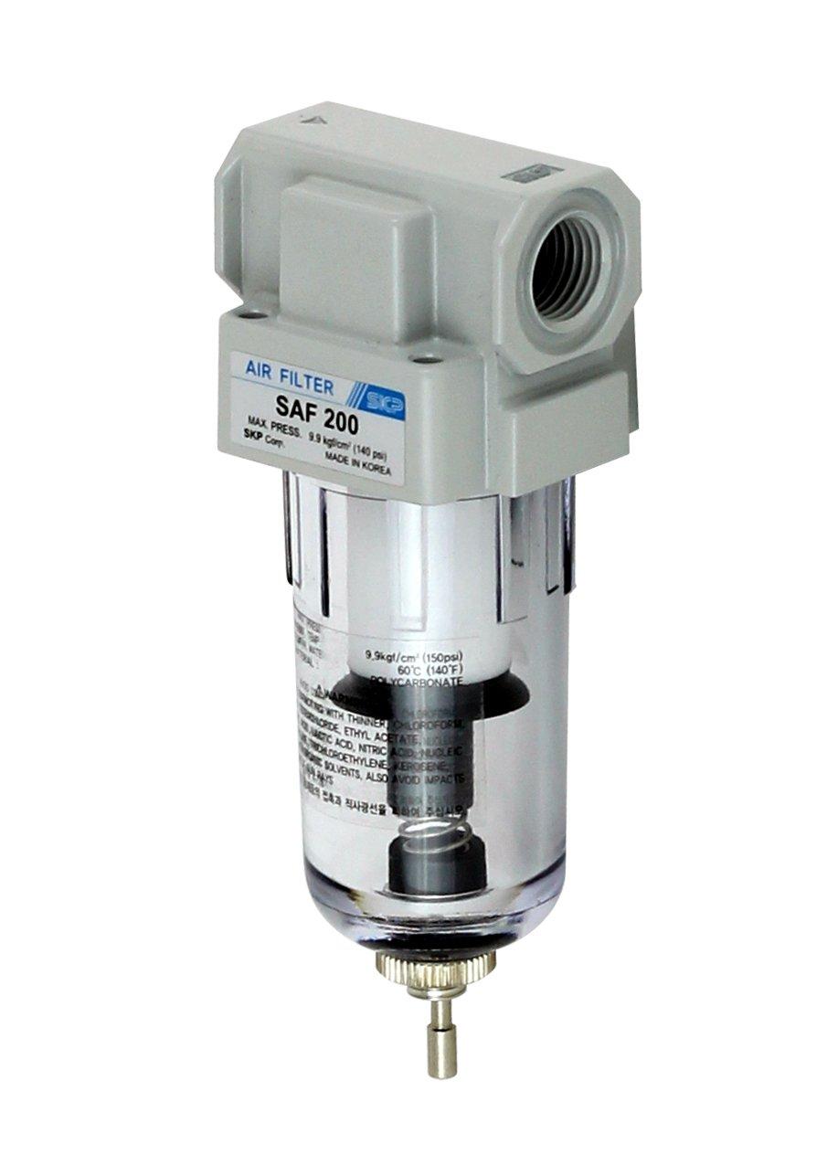 PneumaticPlus Saf200-g02b miniature de filtre à particules d'air comprimé 1/4 bspp, 10 micron - bol poly, vidange manuelle, le support