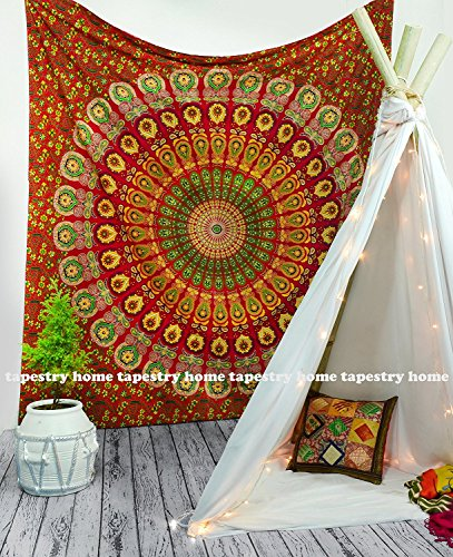 (tapestry home th-001 large Hippie Mandala Bohemian Tapestry Wall Hanging, Psychedelic Wall Art, Dorm Décor Beach Throw, Indian Wall Tapestries 84x90 Inches)
