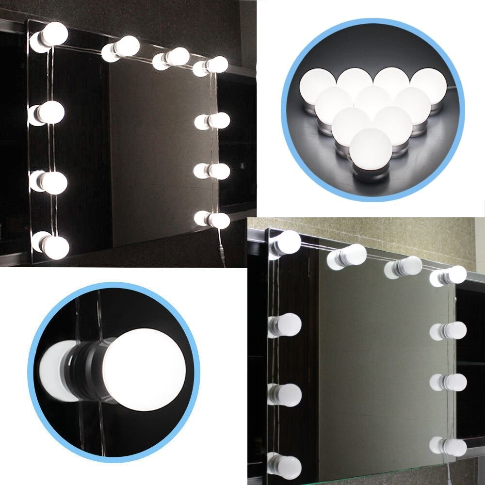 Chende LED Vanity Mirror Lights Kit with Dimmable Light Bulbs, Lighting Fixture Strip for Makeup Vanity Table Set in Dressing Room Tochic Company LM 10 bulbs kit UK