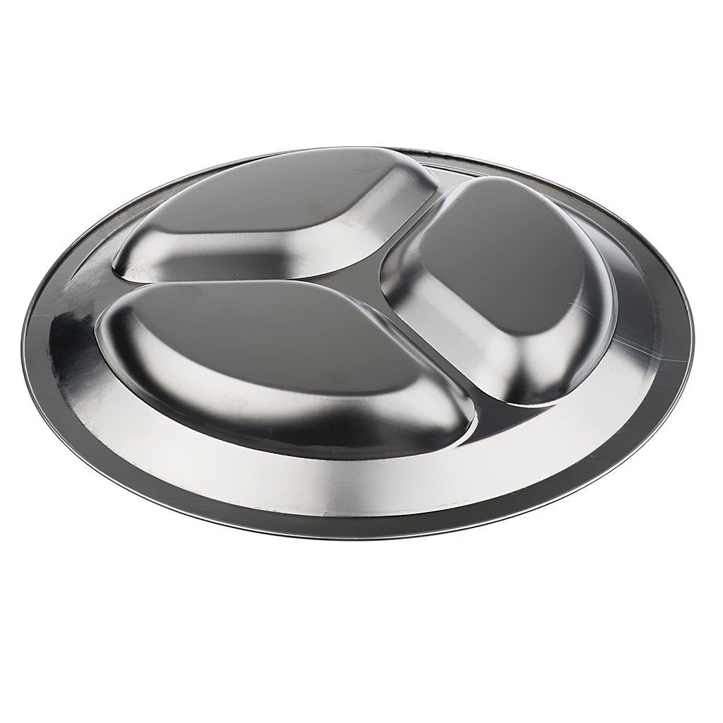 MagiDeal Set of 3 Compartments + 4 Compartments Round Stainless Steel Dinner Dish for Kids Use or Camping Hiking Travel BBQ Picnic by MagiDeal (Image #7)