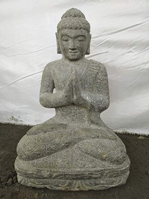 Wanda collection Estatua de jardín de Buda Sentado de Piedra volcánica en posición de rezo 50 cm: Amazon.es: Jardín