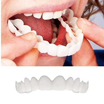Amazon.com : Voberry 2Pcs Comfort Fit Flex Cosmetic Teeth Denture Teeth Top Cosmetic Veneer, One Size Fits Most, Comfortable Upper Veneer (White) : Beauty