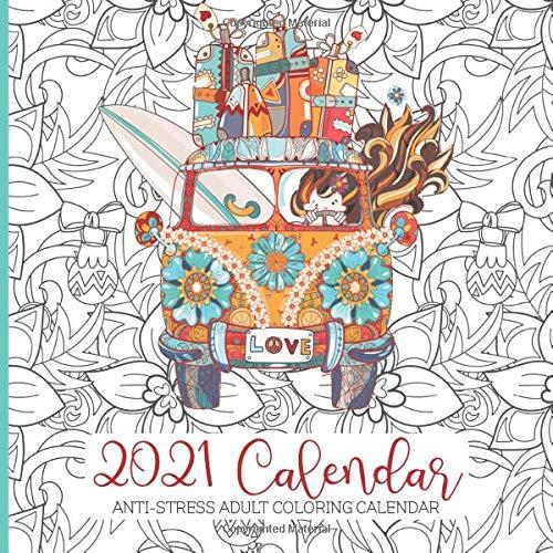 Lmu 2021 Calendar Adult Coloring Calendar 2021: Anti stress Adult Coloring Calendar