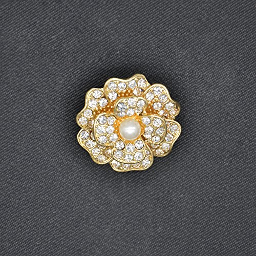 SHINYTIME 1 Piece Rhinestone Flower Crystal Brooch Pin for Women Pearl Elegant Wedding Bouquet Brooches Embellishments for Clothing… Pearl Pin Brooch
