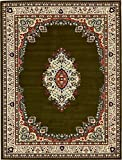 A2Z Rug Traditional Green 10' x 13' Mashad Collection Area rug Perfect for any floor & Carpet