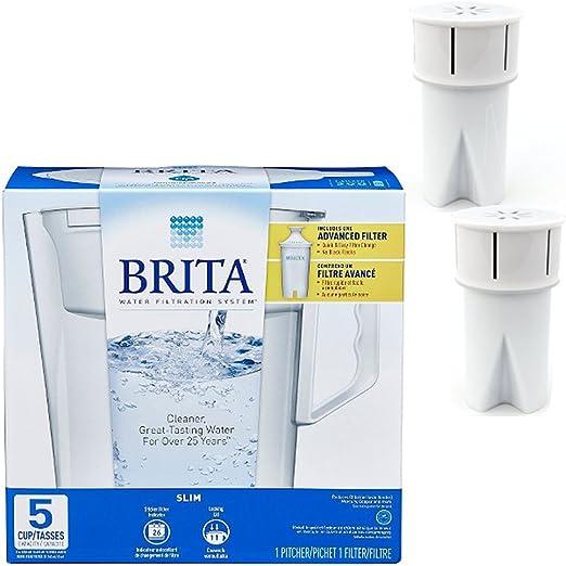 Brita Slim 5 taza jarra de filtrado de agua, color blanco w/1 ...