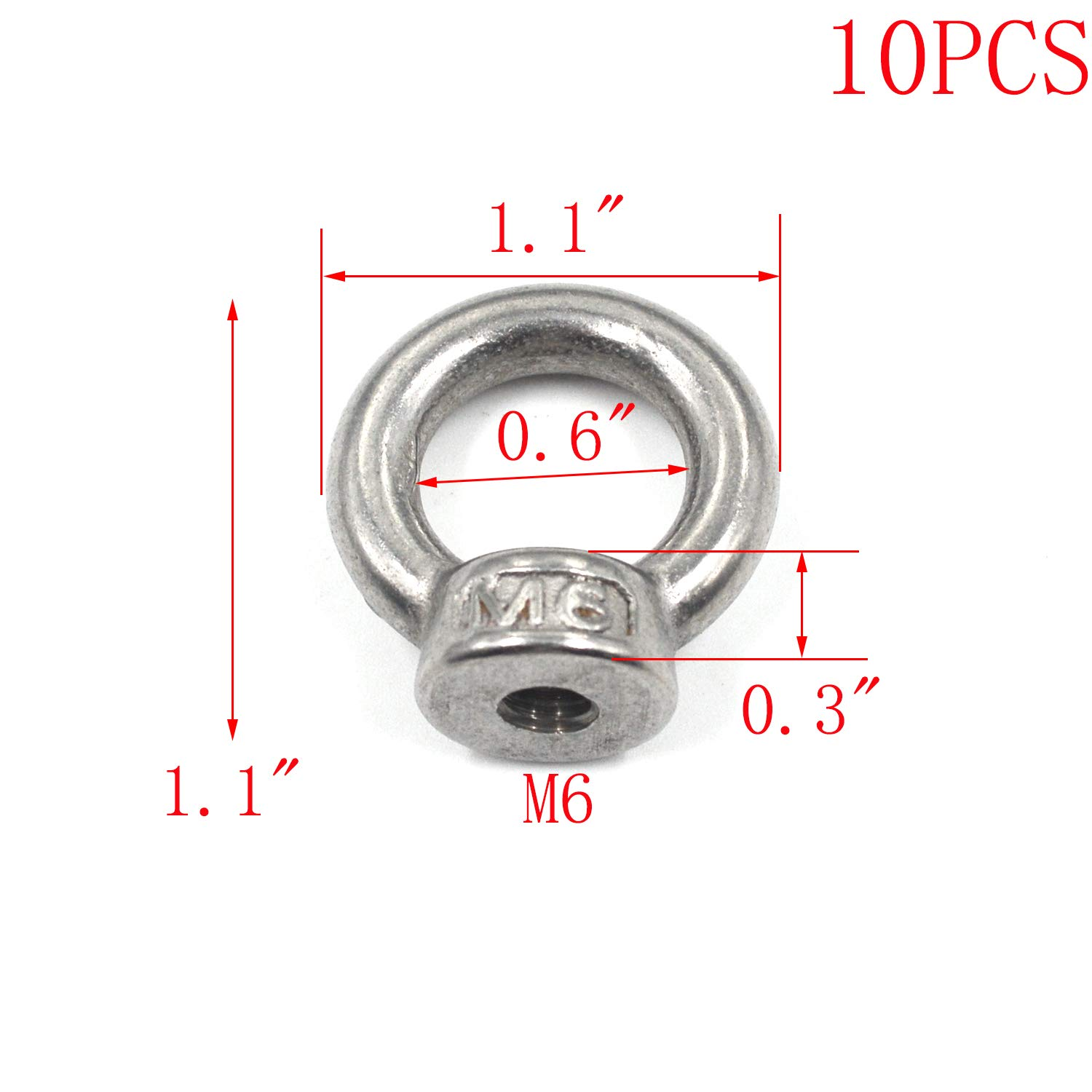 MTMTOOL Silver Tone 304 Stainless Steel Lifting Eye Nuts M4 Female Eye Bolts Pack of 10