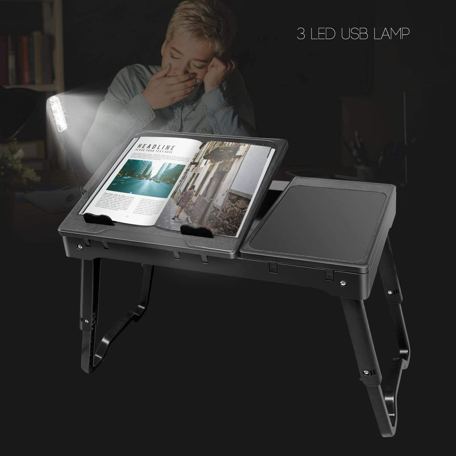 Moclever Laptop Table for Bed-Multi-Functional Laptop Bed Table Tray