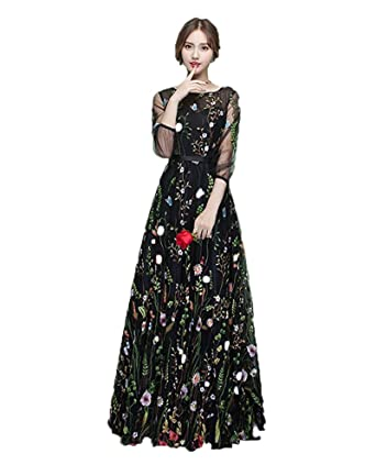 WDH Dress Black Embroidered Prom Dress 3/4 Sleeves Flora Evening Dress 16
