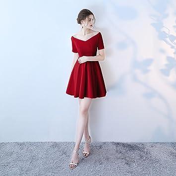 cbf94442c Vestido de noche Negro Rojo Rojo Vino Mujer Verano V Cuello Fiesta Vestido  De Novia Párrafo Corto Vestido Formal (Color   Vino Rojo