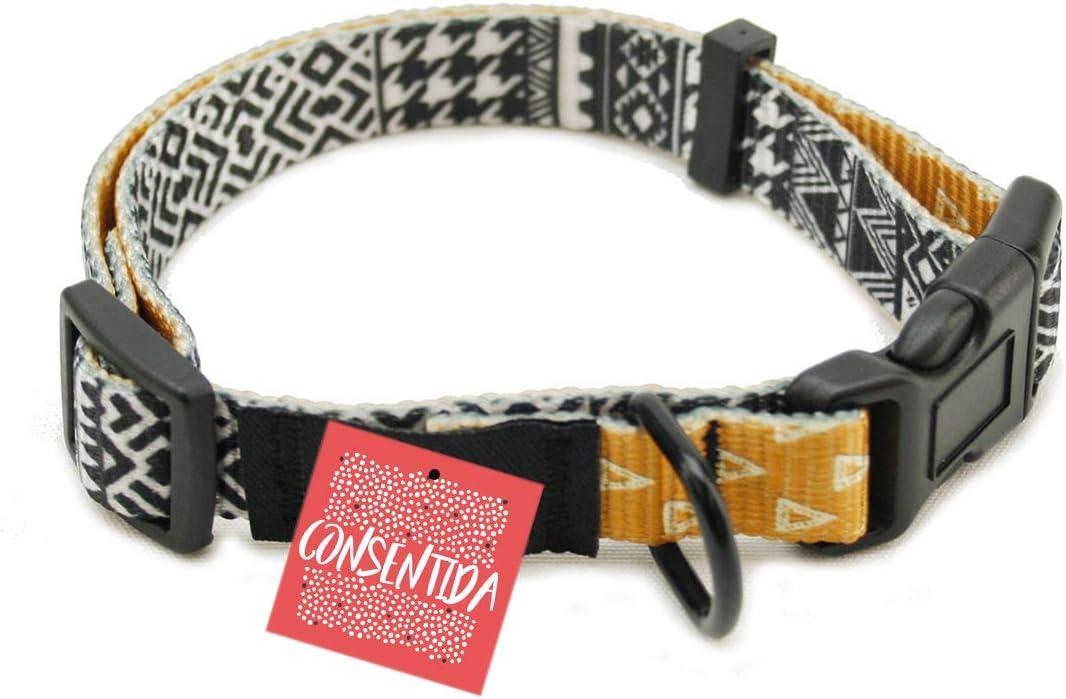 Consentida CN205591 Collar Estampado Eclectic T-4, 45-70 x 2.5 cm, XL, Blanco y Negro