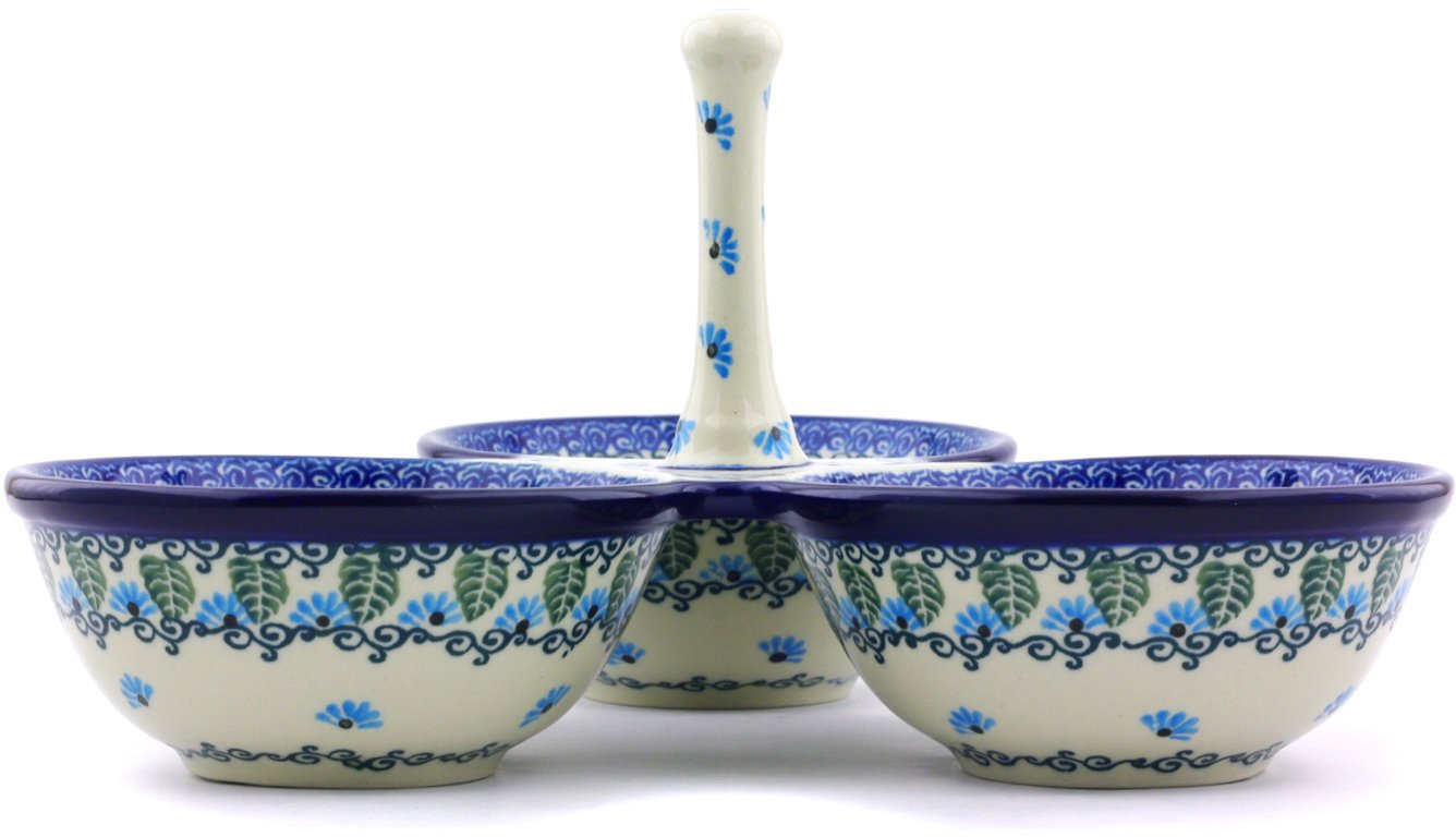 Polish Pottery 9½-inch Condiment Server made by Ceramika Artystyczna (Forget Me Not Theme) + Certificate of Authenticity by Polmedia Polish Pottery (Image #3)