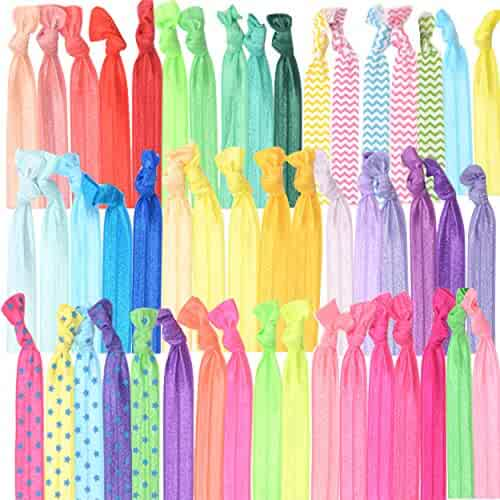 GirlZone: Colorful No Crease Hair Ties Accessories for Girls, Pack of 50, Great Party Bag Stuffer