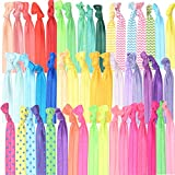 Beauty : GirlZone: Colorful No Crease Hair Ties Accessories for Girls, Pack of 50, Great Party Bag Stuffer