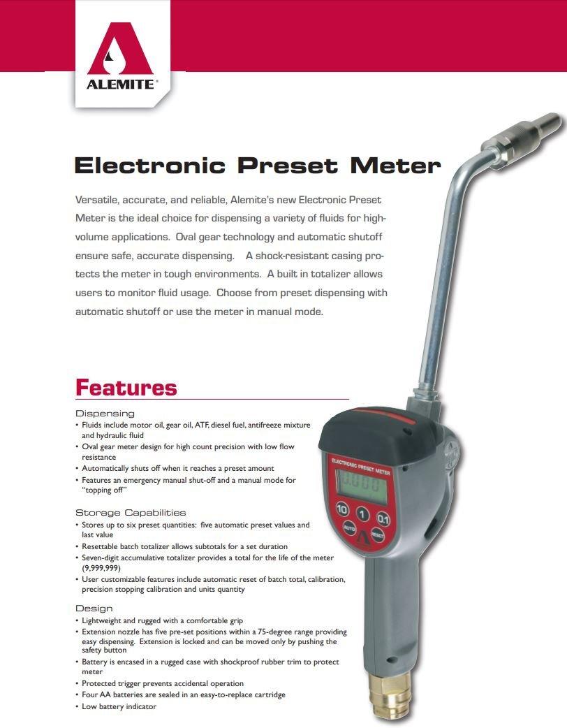 Quart Manual Alemite Electronic Meter Oil Rigid Gallon
