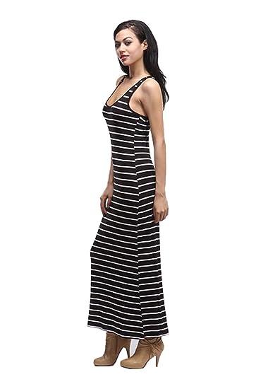 2luv Womens Sleeveless Striped Racerback Maxi Dress Black White L